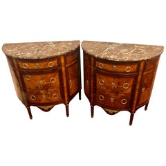 Pair of 19th Century Inlaid French Demilune Commodes or Nightstands