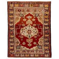 Antique Oushak Rug, Red Field, circa 1920s