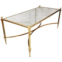 French Louis XVI Bronze and Mirror Cocktail Table by Maison Jansen