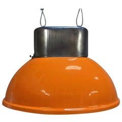 Industrial Vintage European Original Orange Steel Pendant Lamps