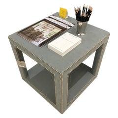 Schumacher Baldwin Cube Upholstered in Sahara Weave Fabric- Sample