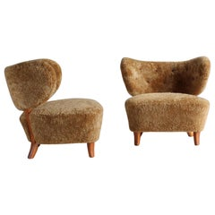 Otto Schulz 'Attributed,' Modernist Lounge Chairs, Sheepskin, Beech, 1940s