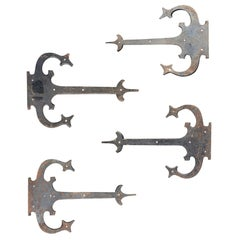 Set of '4' 20th Century Hand-Forged Wrought Iron Architectural Door Hinges