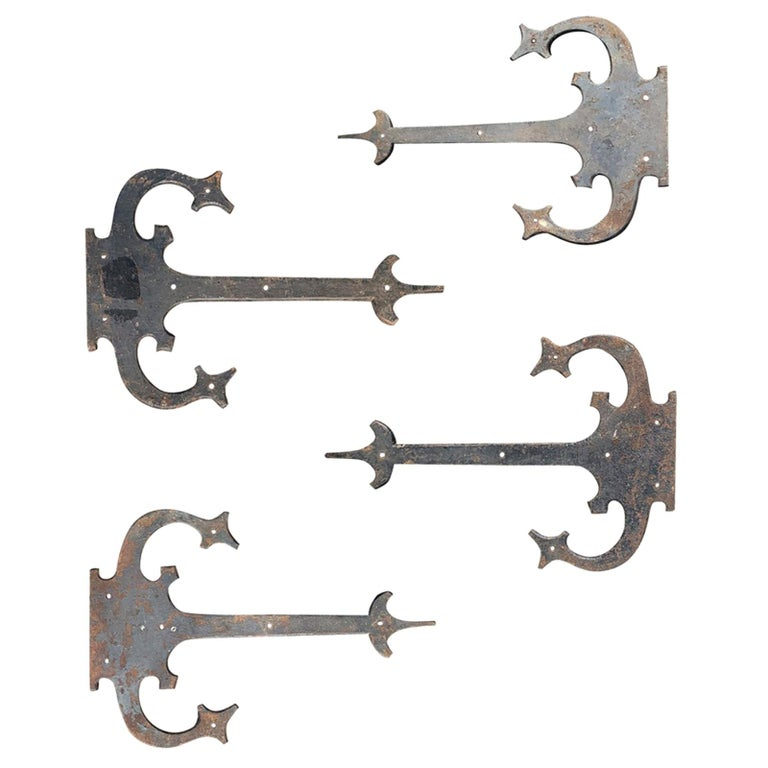 Set of '4' 20th Century Hand-Forged Wrought Iron Architectural Door Hinges For Sale
