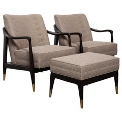 Pair of Midcentury Armchairs with Footstool
