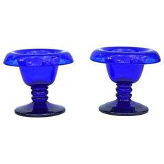 Antique Cobalt Blue Glass Compotes