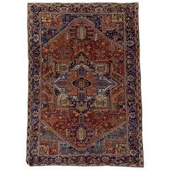 Antique Heriz Carpet, Colorful Palette