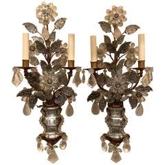 Pair of French Baguès Rock Crystal Gold Gilt Flower Leaf Urn Form Sconces