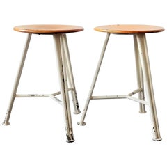 Set of 2 Industrial Sewing Stools, the Netherlands, 1950s