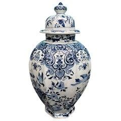Late 17th-Early 18th Century Delft Blue & White Jar, Marked Pieter Van Der Briel