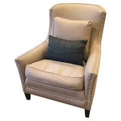 Schumacher Aspen Walnut Chair Upholstered in Chester Wool Fabric