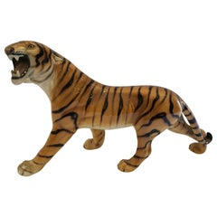 Italian Glazed Ceramic Growling Prancing Tiger Sculpture