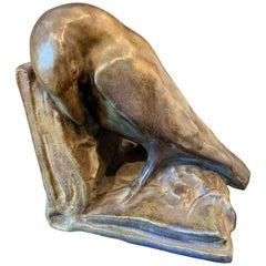 Rook Bookend, Unusually Large and Fine Sculpture by Rookwood Pottery
