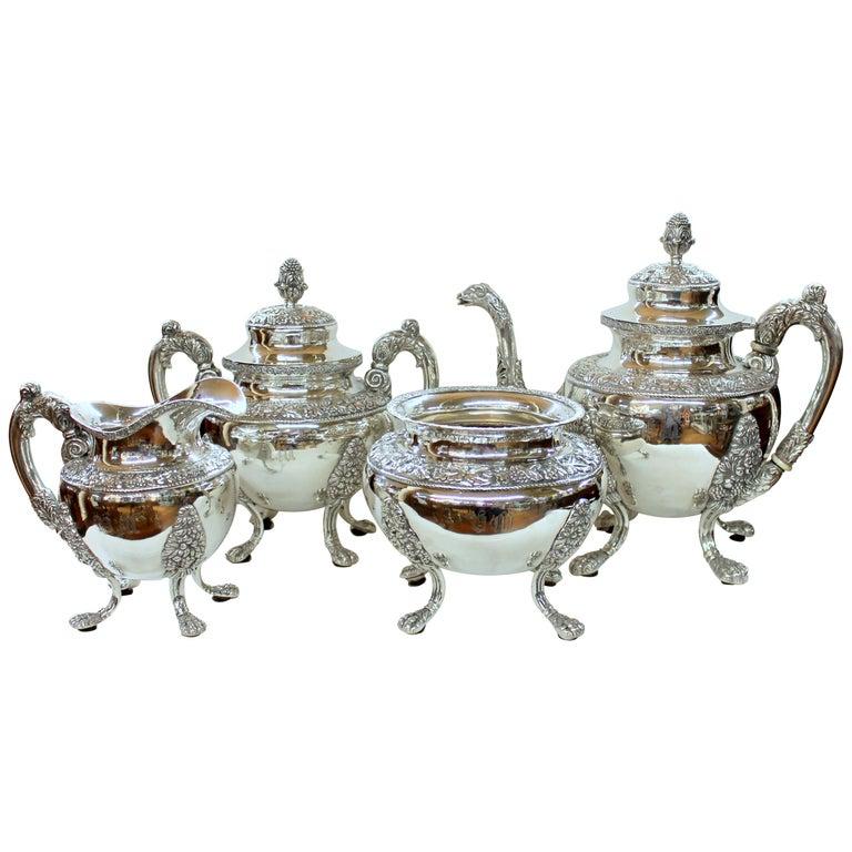 Antique American Coin Silver Rococo Style Four Piece Tea Set, Andrew de Milt, NY For Sale