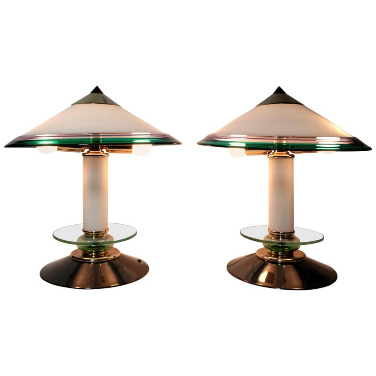 Pair of after Ettore Sottsass Italian Murano Glass Table Lamps, 1980s For Sale