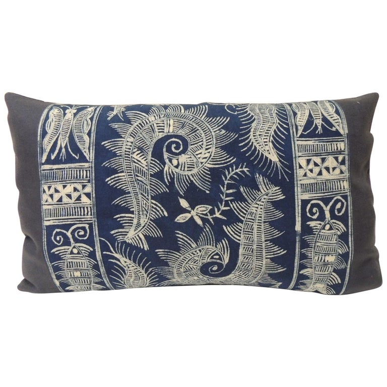Vintage Indigo and White Hand-Blocked Batik Lumbar Accent Pillow For Sale