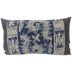 Vintage Indigo and White Hand-Blocked Batik Lumbar Accent Pillow