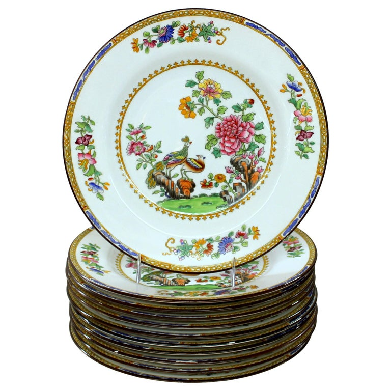 """Set of Eleven Old English Spode 'Copelands' """"Peacock and Peony"""" Luncheon Plates For Sale"""