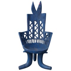 Ethiopian Carved Blue Side Chair, Africa, 1950s
