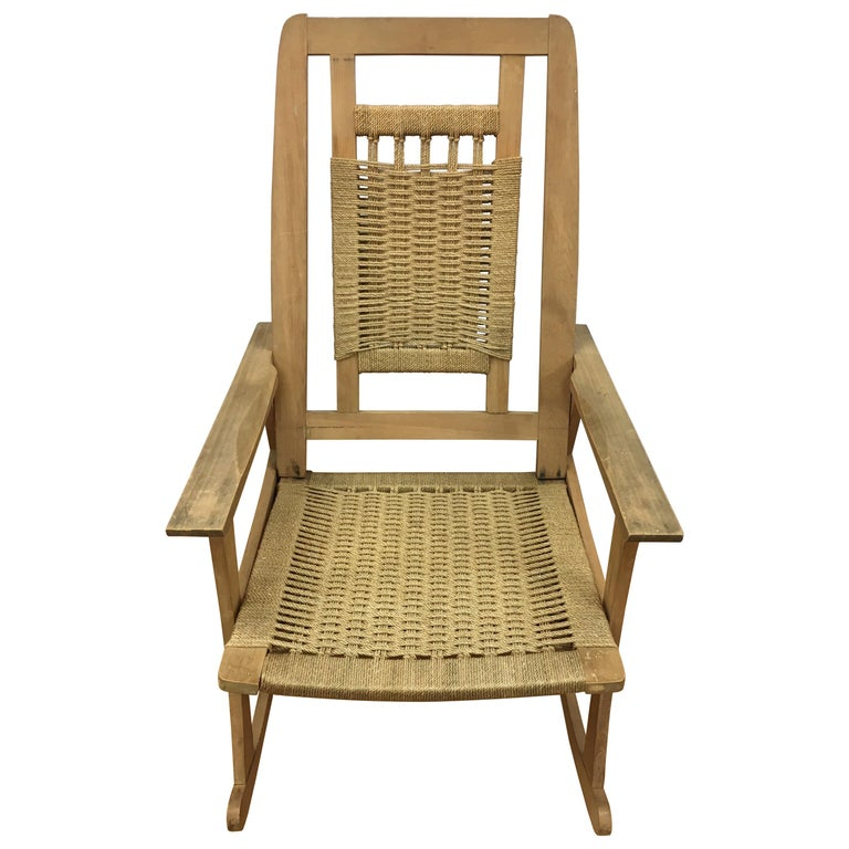 Mid-Century Modern  Rope Rocking Chair Rocker For Sale