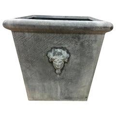 Large Square Top Estate Greek Figural Head Zinc Planter Container