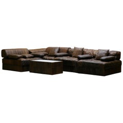 Vintage Brown Modular Patchwork Leather Sofa DS88, De Sede, 1970s, Switzerland