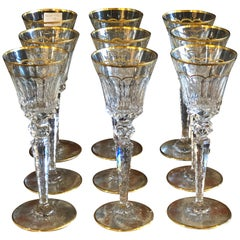 Nine St Louis Crystal Wine Glasses Mouth Blown & Hand Engraved Large Sized