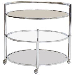 Two-Tier Expandable Bar Cart in Chrome
