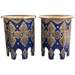 Pair of Moroccan Silver Metal Inlaid Side Tables in Blue