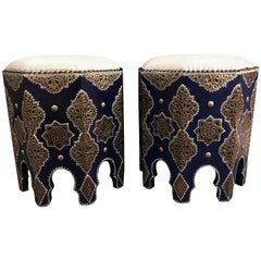 Pair of Moroccan Silver Metal Inlaid Stools with White Leather