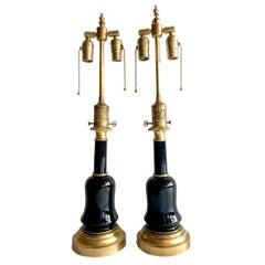 Pair of Black Glass Table Lamps