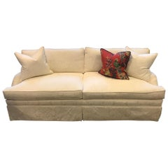 Schumacher Conrad Sofa Upholstered in Padova Damask Natural Fabric