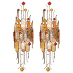 Pair of Sculptural Metal and Carved Glass Sconces