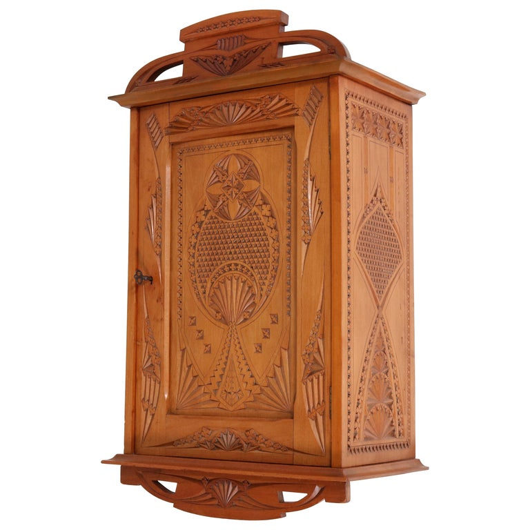 Dutch Fruitwood Art Nouveau Kerfschnitt Wall Cabinet, 1900s For Sale