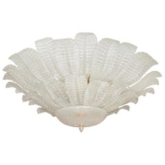 Large Tiered Murano Glass Leaf Flush Mount