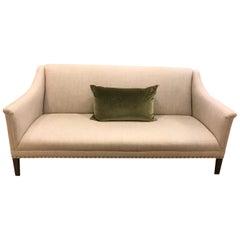 Schumacher Copenhagen Walnut Sofa Upholstered in Sahara Weave Fabric