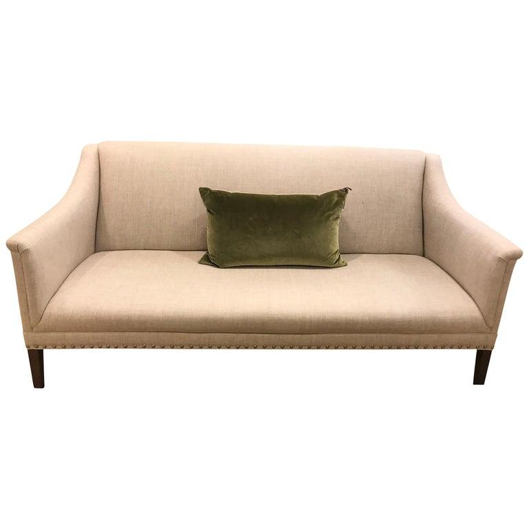 Schumacher Copenhagen Walnut Sofa Upholstered in Sahara Weave Fabric For Sale