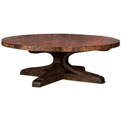 Reclaimed Maple Boxcar Wood Round Coffee Table