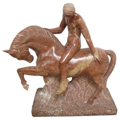 Equestrian Marble Sculpture by Luis Antonio Sanguino in Rosso Alicante Marble