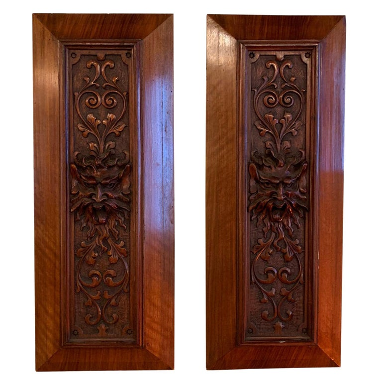 Pair of Late 19th Century Carved Mahogany Gargoyle Panels For Sale