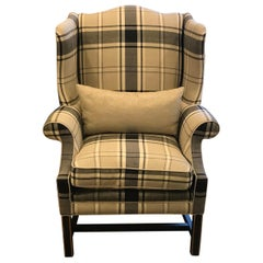 Schumacher Hudson Wing Chair Upholstered in Alexander Tartan Fabric