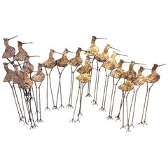 Sandpipers / Birds Large Metal Wall Sculpture by Curtis Jere