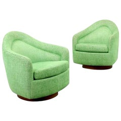 Pair of Milo Baughman Swivel Lounge Chairs, 1970, USA