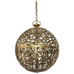 Large Pierced Filigree Brass Japanese Asian Pendant Chandelier Light