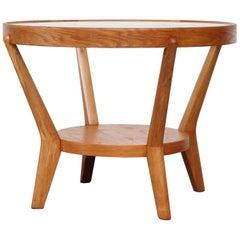 Halabala Style Round Blonde Side Table