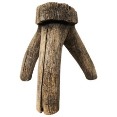 Primitive Mexican Oakwood Milking Stool from México