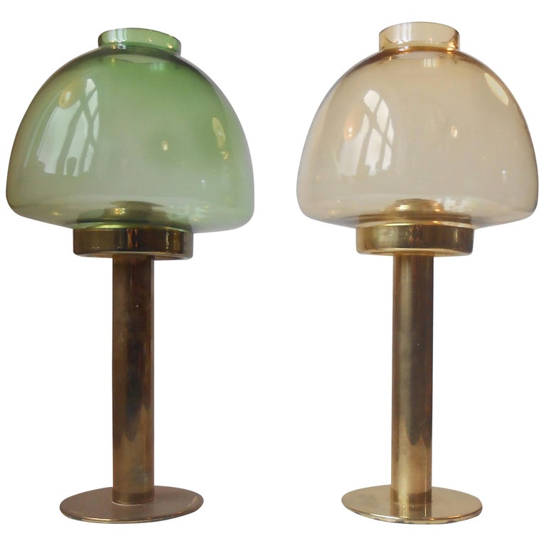 Pair of Hans-Agne Jakobsson Glass & Brass Candle Lamps, Sweden, 1960 For Sale