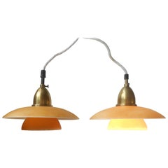 Rare Pair of Danish Functionalist Pendant Lights by Lyfa, 1930s