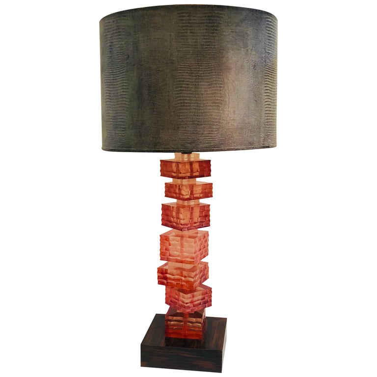 Rennaissance 2000 Stacking Lucite Blocks Table Lamp with Gray Faux Lizard Shade For Sale