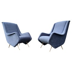 Beautiful Lounge Chairs in the Style of Carlo de Carli or Gio Ponti